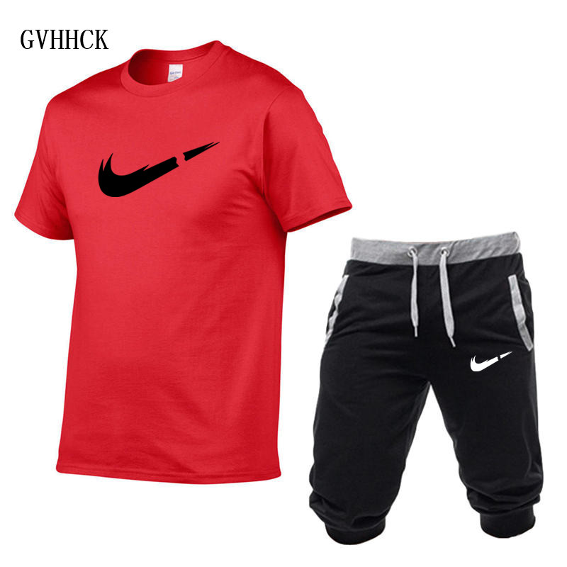 HTB1PhyjPAvoK1RjSZFDq6xY3pXar Summer New Tracksuit Men Shorts Casual Men's Sportswear Suit Shorts Brand Clothing Two Pieces Top Tee+Shorts Sweat Suits 2019