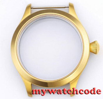 45mm golden plated parnis Watch CASE sapphire glass fit 6498 6497 eat movement50