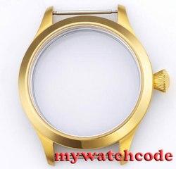 45mm pozłacane etui na zegarek parnis szafirowe szkło fit 6498 6497 eat movement50