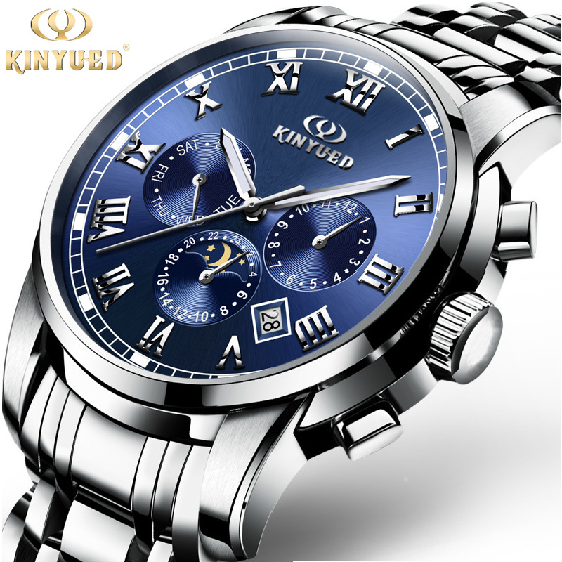 Mens Watches Top Brand Luxury Stainless Steel Automatic Mechanical Watch Kinyued Fashion Business Men Wristwatch With Gifts Box top brand luxury mens mechanical watches parnis 41mm full stainless steel automatic watch men rotating bezel luminous wristwatch