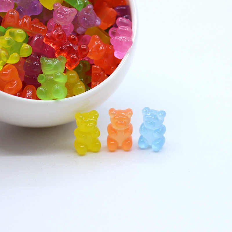 Slime 10Pcs Simulated Bear Candy Polymer Slime Box Toy for Children Charms Modeling Clay DIY Kit Accessories Kids Plastic Gift E