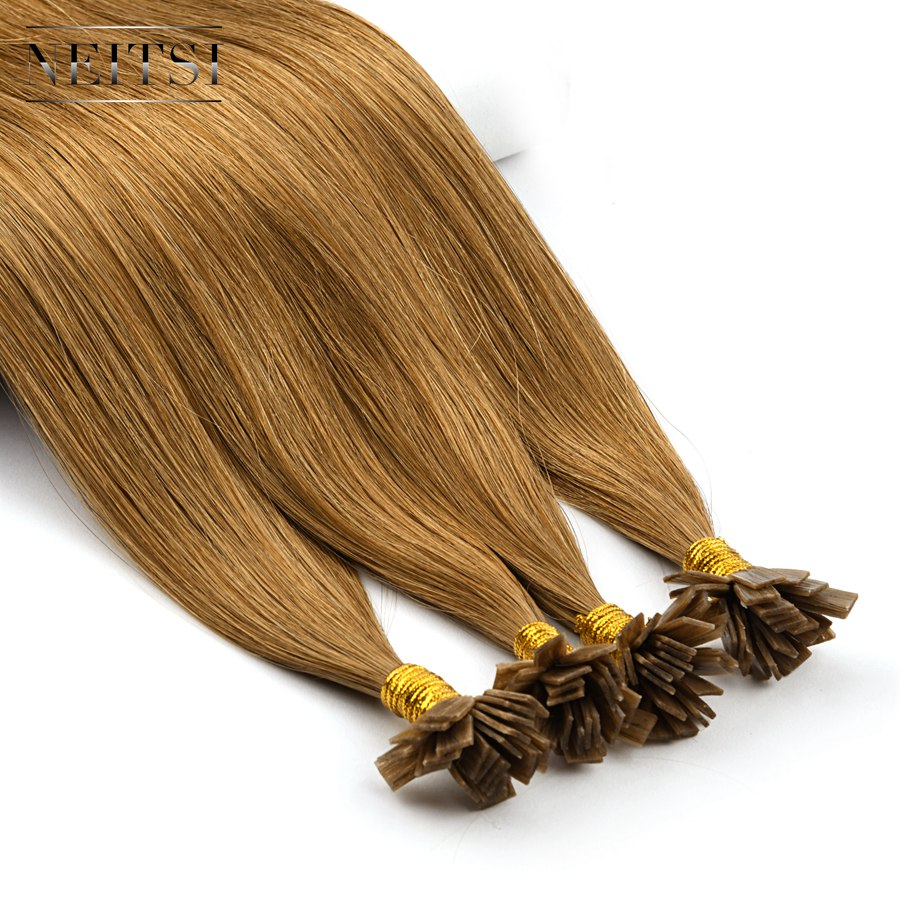 "Neitsi Double Drawn Remy Flat Tip Human Hair Extensions 24"" 1.0g/s Straight Capsules Keratin Pre Bonded Fusion Hair"