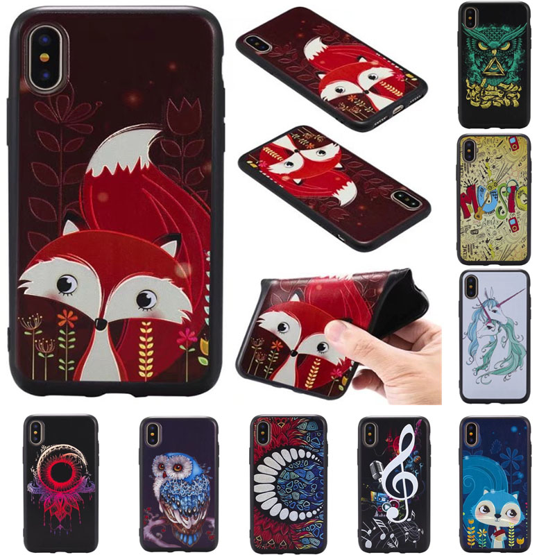 3D Soft TPU Case For iphone X 5 5s SE 6 6s 6 7 8 Case owl fox Elephant Pattern Silicone Back Cover Phone Case For iphone 8 Plus
