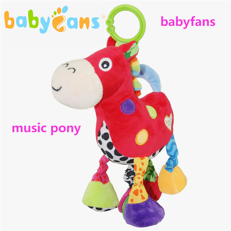 Baby Plush Early Education Music Toys Pony Rattles Music Pulling Bell Toy Baby Development Gifts Plush Toys with Jingle Bells baby toys rattle tinkle hand bell multifunctional plush stroller mobile toy gifts