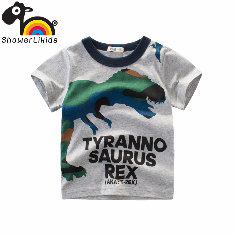 Cotton short sleeve children t shirts cute cartoon game boys girls showerlikids wear Lifelike original dinosaur brothers брюки byblos byblos by548ewizu18