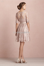 Rose Pink French Lace Short Bridesmaid Dresses