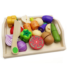 купить Baby Wooden toys Pretend Play kitchen toys cutting Fruit and Vegetable education food toys for kid Mother garden childre дешево