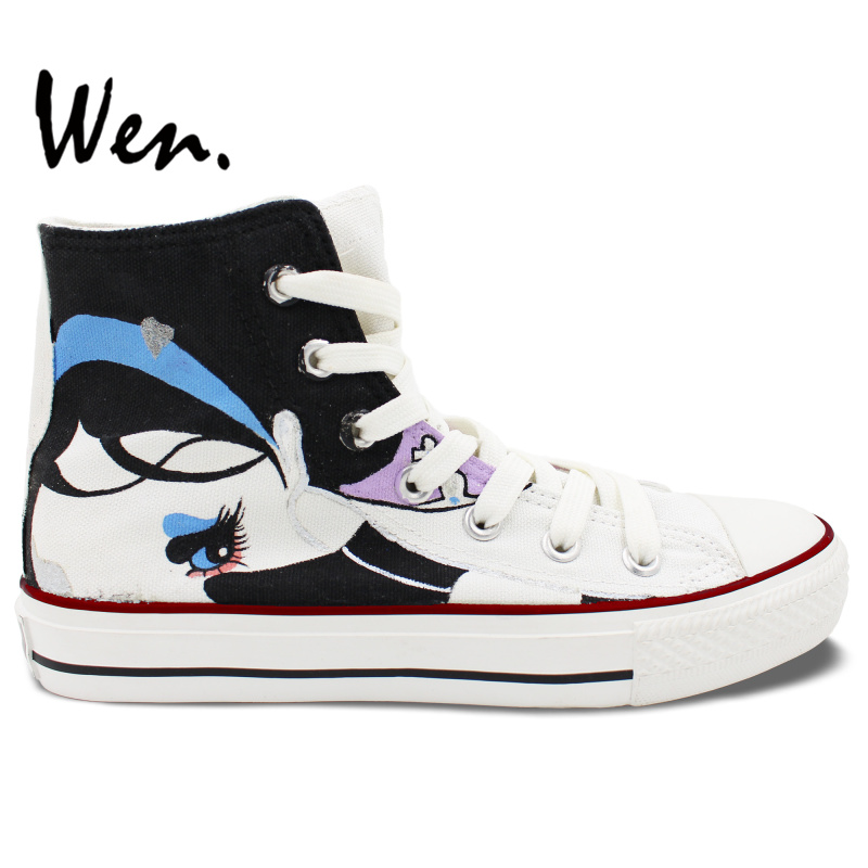 ФОТО Wen Original Design Custom Hand Painted Shoes Floral Exaggerated Cartoon Girl High Top Women Men's Canvas Sneakers