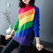 Rainbow striped half turtleneck elastic knit pullovers sweater 2018 new long sleeve women autumn winter thick loose