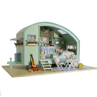 DIY house set Decoration DIY Cabin Time Travel Lucky Home Miniature model Artwork Drop shipping