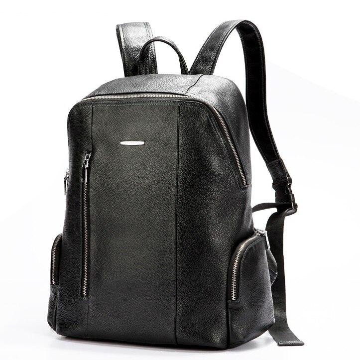 b907bb3a8c6 Cuero genuino de moda mochila hombres de la alta calidad práctica bolsa  para hombre en piel de vaca cuero Simple Brown morral negro bolsa de hombre  en ...