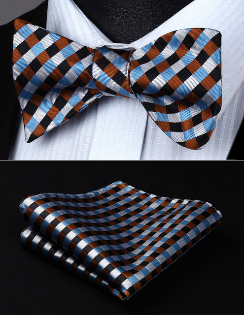 2c0c594531c1 BC706ZS Brown Blue White Check Bowtie Men Silk Self Bow Tie handkerchief set  Party Pocket Square