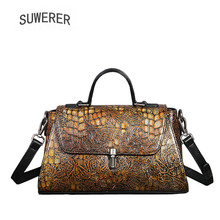 SUWERER 2019 New Genuine Leather women bags Retro embossing Cowhide luxury leather shoulder bag designer famous brands