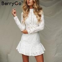 BerryGo Elegant cotton embroidery white dress women turtle neck long sleeve short dress Hollow out autumn casual dress vestidos