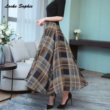1pcs Hight waist skirts Womens Pleated 2019 Autumn Chiffon prints Splicing plaid full-skirted skirt Ladies Casual