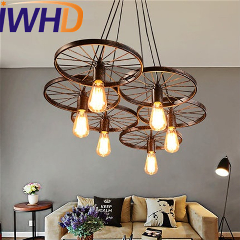 IWHD Loft Style Creative Retro Wheels Droplight Edison Industrial Vintage Pendant Light Fixtures Iron LED Hanging Lamp Lighting 2 pcs loft retro light rusty color hanging lamp cafe bar pendant lights creative edison lamps industrial style pendant lighting