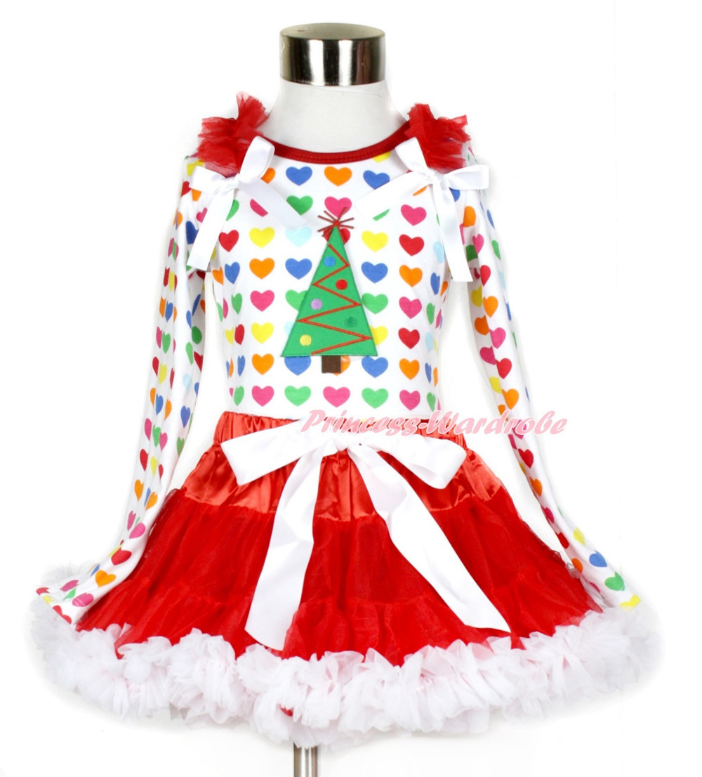 Xmas Red White Pettiskirt with Christmas Tree Print Rainbow Heart Long Sleeve Top with Red Ruffles & White Bow MAMW409 white pettiskirt with patriotic america heart white ruffles