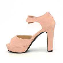 TAOFFEN Size 31-43 New Summer Peep Toe Ankle Strap Orange Sweet Thick High Heel Sandals Platform Lady Women Shoes