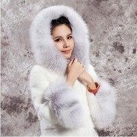 2019 Fashion Winter Long Faux Fox Fur Overcoat Casual Jacket Female Outerwear Hooded Coat Faux Fur Coat Women Plus Size