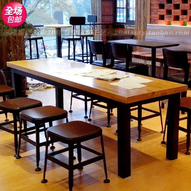 American Country Wrought Iron Wood Tables And Chairs Combination - Long cafe table