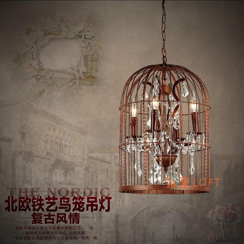 Американский Лофт кантри Nordic ретро Клетка ностальгия кристалл подвесной светильник гостиная отель Железный бар висит свет лампы