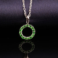 Robira Brand New 14K Gold Necklace Cluster Tsavorite Green Round Pendants Necklace Women's Jewelry Wholesale