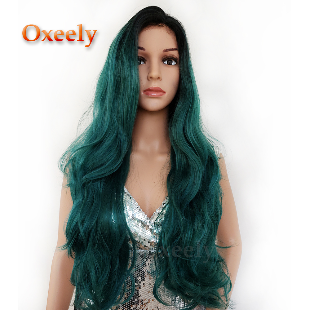 Oxeely Long Wavy Hair Ombre Color Synthetic Lace Front Wigs Glueless Natural Hairline Body Wave Lace Wigs for Black Women ...