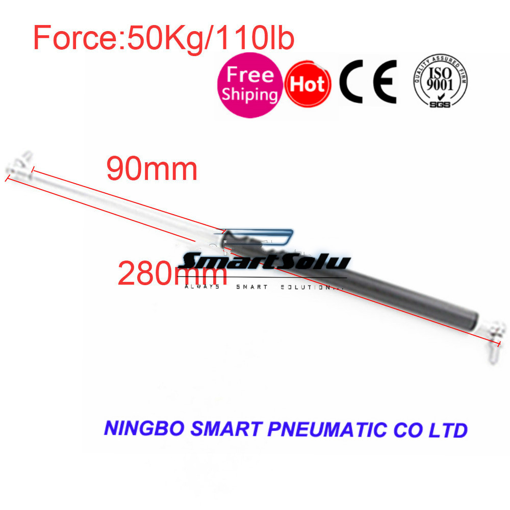 free shipping 50KG/110lbs Force 90mm*280mm Gas Spring Damper for Furniture Car 90mm Stroke Gas Spring Gas Strut Door 280mmfree shipping 50KG/110lbs Force 90mm*280mm Gas Spring Damper for Furniture Car 90mm Stroke Gas Spring Gas Strut Door 280mm