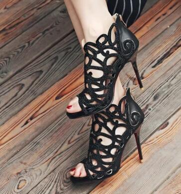 2018 Newest Design Ladies Platform Hollow out peep Toe Sandals Thin and High Heels Special Sexy Wedding Dress Shoes trendy women s sandals with hollow out and platform design