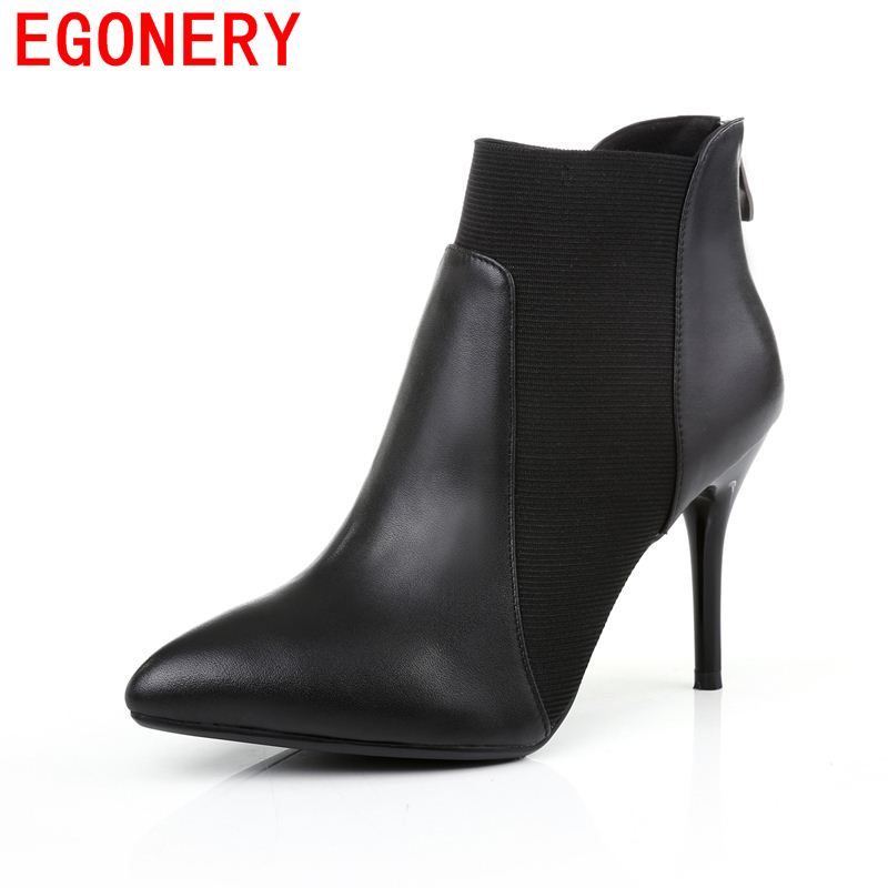 EGONERY shoes 2017 European American fashion ankle boots elegant pointed toe thin high heels concise zipper design black shoes