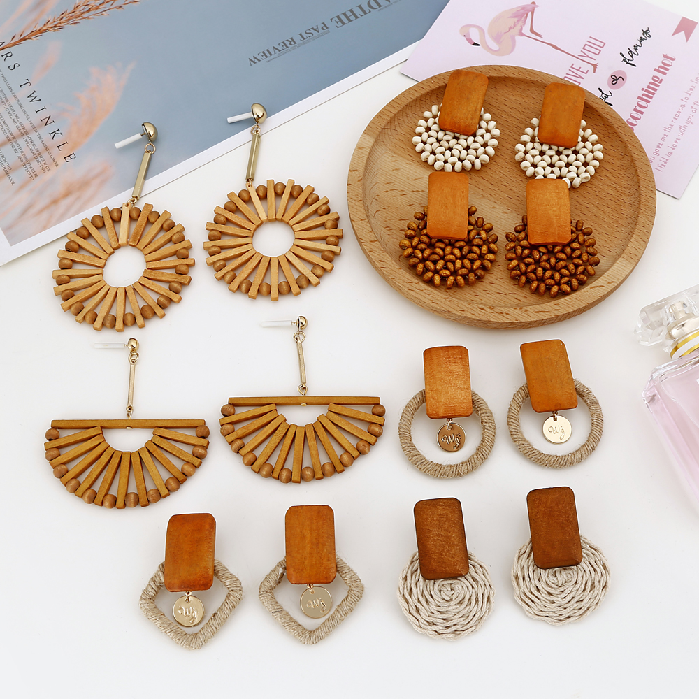 XIYANIKE New Fashion Handmade Geometric Wooden Bamboo Rattan Straw Weave Drop Earrings For Women Beach Ocean Wind Party Jewelry