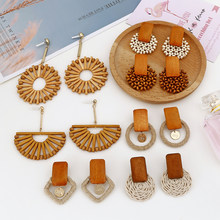XIYANIKE New Fashion Handmade Geometric Wooden Bamboo Rattan Straw Weave Drop Earrings For Women Beach Ocean Wind Party Jewelry(China)