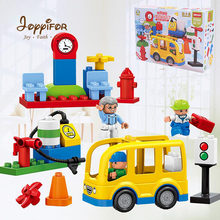 Joyyifor 29PCS Models Big Toy Bus Traffic Light Set Large Particle Building Blocks Figures For Kids Compatible with(China)