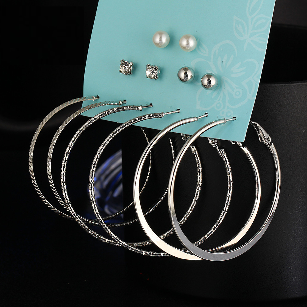 New Fashion Punk Crystal Stud Earrings For Woman Simulated Imitation Pearl Alloy Round Ball Earring Set Boucles D oreille Girls