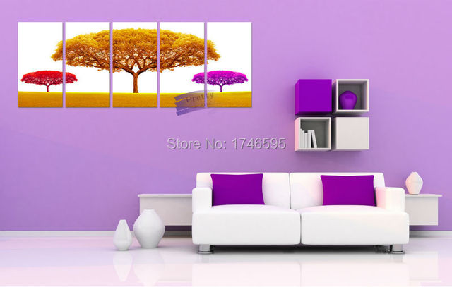 5pcs Modern Abstract Golden Big Tree Home Decor Wall Art Picture For Living Room  Bedroom Canvas