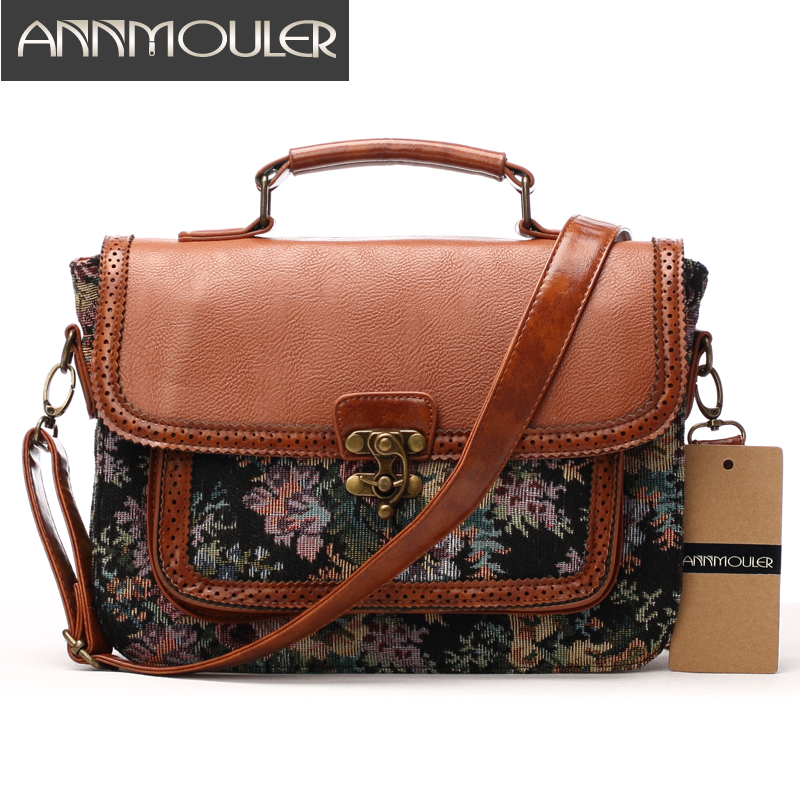 Annmouler Designer Women Handbags Retro Pu Leather Shoulder Bag Patchwork Floral Print Crossbody Messenger Bag Briefcase Bag