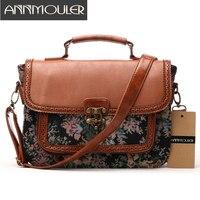 Annmouler Designer Women Handbags Retro Pu Leather Shoulder Bag Patchwork Floral Print Crossbody Messenger Bag Briefcase Bag