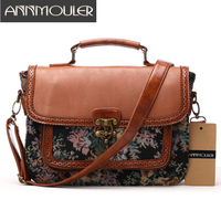 Annmouler Designer Women Handbags Retro Pu Leather Shoulder Bag Patchwork Floral Print Crossbody Messenger Bag Briefcase
