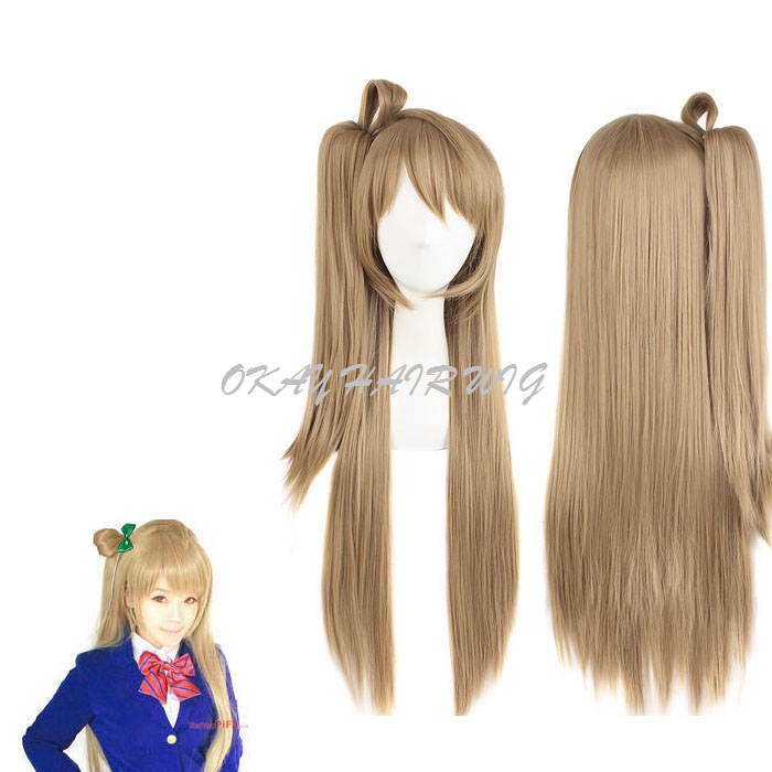 Long Brown Grey Ombre Straight Cosplay Wigs Anime Girl Wig Kanekalon