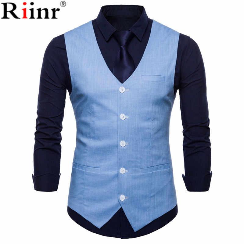 Riinr Şık Erkek Sonbahar Slim Fit High-End takım elbise Yelek/Erkek Eğlence V Yaka Pamuk Yelek/Damat Elbise siyah Resmi Moda