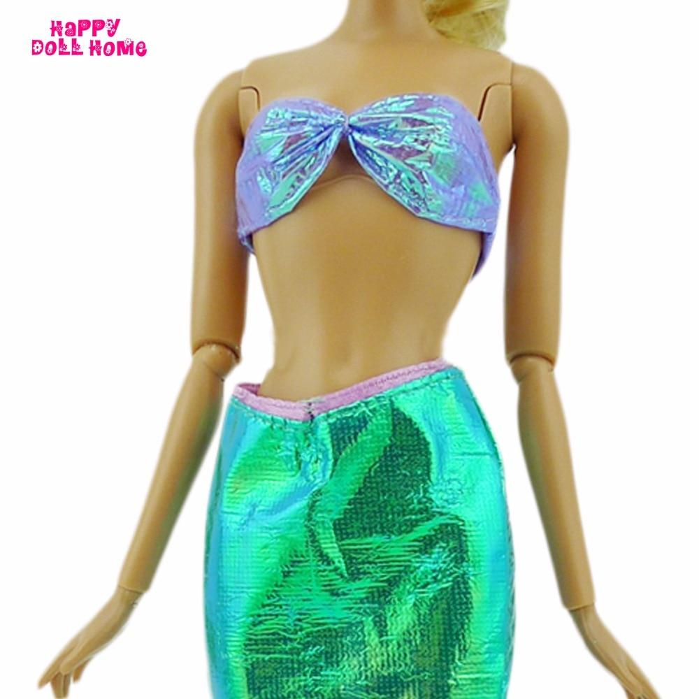 Мишура русалка наряд бюстгальтер Топы корректирующие рыбий хвост Низ сказка костюм куклы кукольный домик Одежда для Барби FR Kurhn Кукла Игруш...