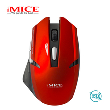 imice 1600 DPI USB Optical Wireless Mouse Computer Quiet Button Silent 2.4G Receiver Red Black for PC Laptop E1700