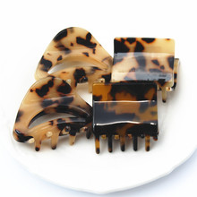 Buena Top Quality Fancy Leopard Hair Claw Hair Clips Cellulose Acetate Charming French Clips SA056