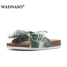 WADNASO Women Bow Flats Cork Slippers New 2019 Summer style Casual Shoes Print Mixed Colors Slides Flip Flop Plus Size 35-41