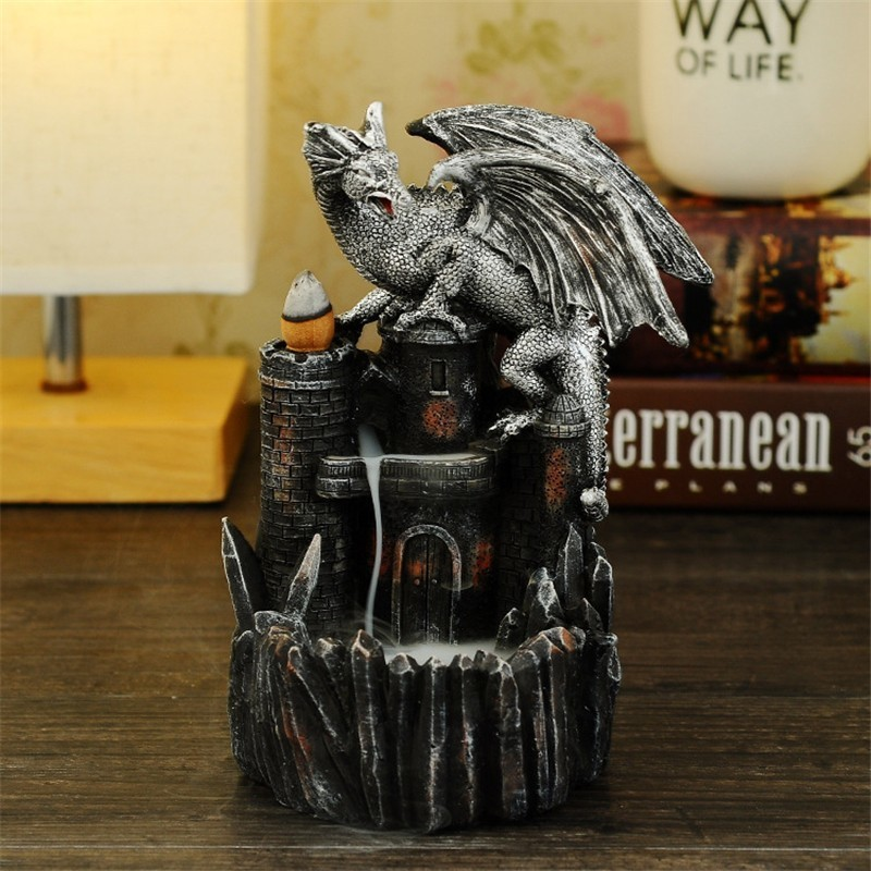 Dragon Castle Resin Incense Burner Waterfall Backflow Creative Crafts Figurine Nordic Home Decor Ornaments