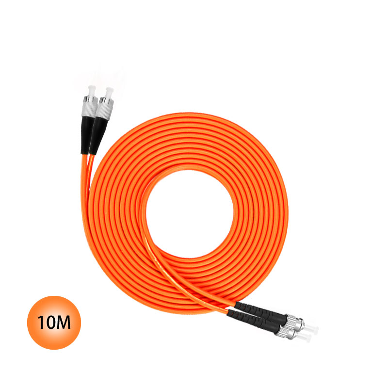 FC to ST 50/125 Multimode Duplex Plenum Fiber Patch Cable 10M Jumper Cable 50 Microns UPC Polish Orange OFNP Jacket OM2