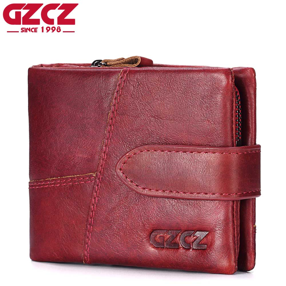 GZCZ Genuine Leather Women Wallet Female Coin Purse Vintage Style Short Woman Walet Zipper Design Mini Clutch RFID Blocking 2018