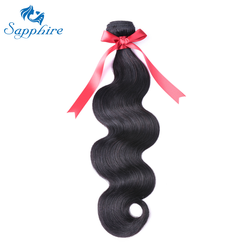 Sapphire Hair-Extensions Bundles Weave Remy-Hair Body-Wave Brazilian Natural-Color 8-26-Inches