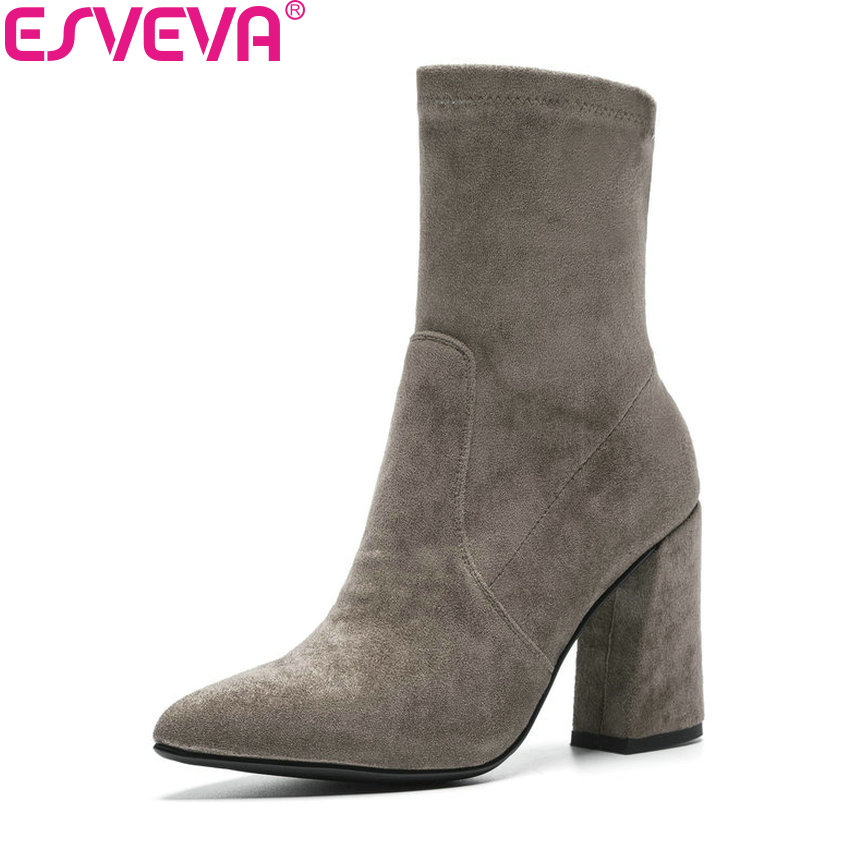 ESVEVA 2019 Women Boots Square High Heels Mid-calf Boots Autumn Shoes Pointed Toe Look Slim Fashion Boots Woman Size 34-43 spring autumn women thick high heel mid calf boots platform woman short boots high heels shoes botas plus size 34 40 41 42 43