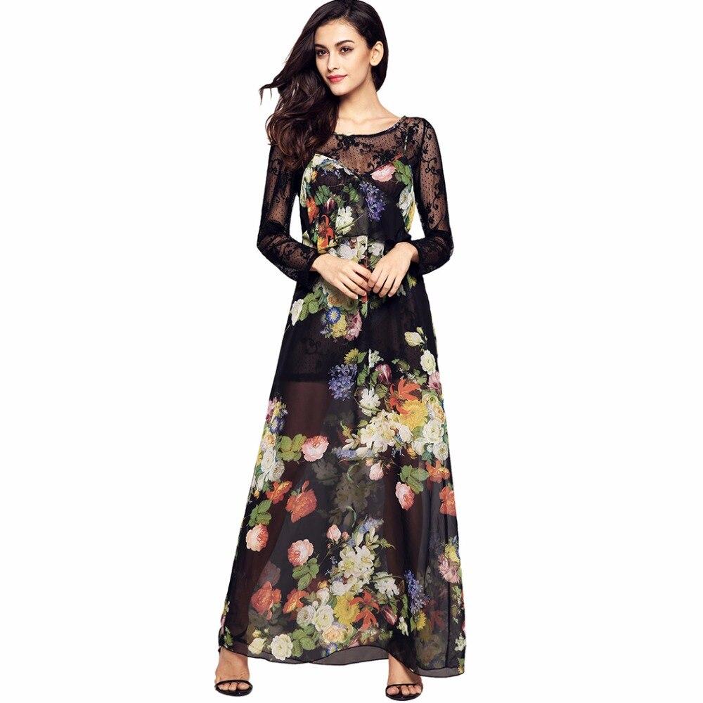 sexy long sleeve maxi two piece lace chiffon women dress boho party tunic robe femme vestidos. Black Bedroom Furniture Sets. Home Design Ideas